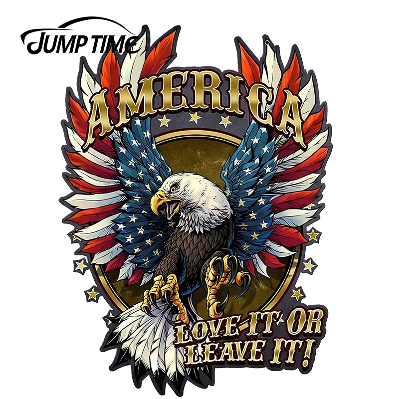 JumpTime 13cm X 9.5cm For American Bald Eagle With Flag Sign Sticker Car Stickers Waterproof Accessories Car Bumper Window Decal