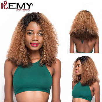 Afro Kinky Curly Wigs KEMY HAIR Brazilian Remy Long Human Hair Wigs For Black Women Pre Plucked Hairline L Part Lace Wig - DISCOUNT ITEM  46% OFF All Category