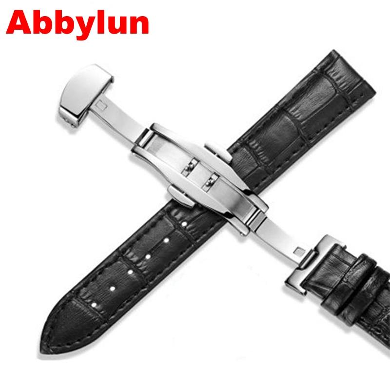 Abbylun PU Leather Straps Watchband 18mm 20mm 22mm Men Women Watch Accessories Black Brown Butterfly Buckle Watch Bands Hot
