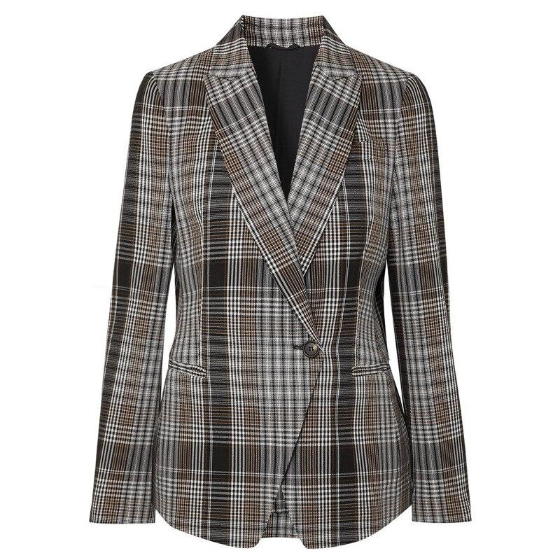2020 otoño nuevo Retro A Buckle estilo Hong Kong suelto Plaid traje de manga larga abrigo botón Plaid ropa mujer Chaquetas abrigo Mujer - 5