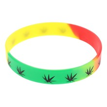 Silicone Bracelet&Bangles Black White Color Wristband Fashion Jewelry print 1pc Bracelet(China)
