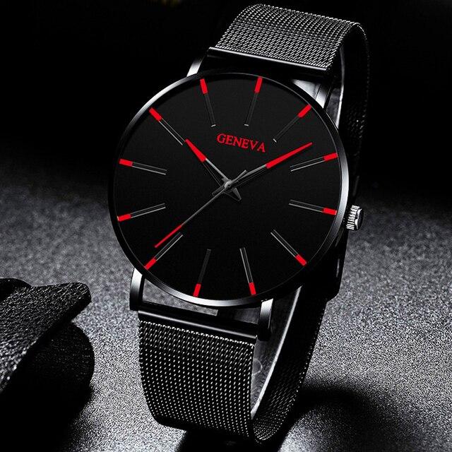 Moda de luxo masculino minimalista relógios ultra fino preto malha aço inoxidável banda relógio de negócios casual analógico relógio de quartzo 4
