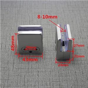 Image 4 - 4Pcs Stainless Steel Square Clamp Holder Bracket Clip For Glass Shelf Handrails Silver