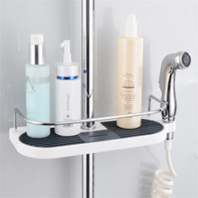 45#Practical Bathroom Pole Shower Storage Rack Holder Large Pole Shelf Shower Storage Caddy Rack Organiser Tray Holder 1PC