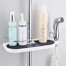 Practical Bathroom Pole Shower Storage Rack Holder Large Pole Shelf Shower Storage Caddy Rack Organiser Tray Holder 1PC