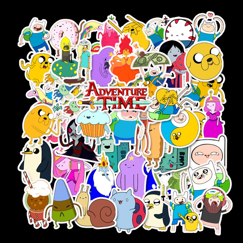 50Pcs Anime Adventure Time Stickers Pack For Kids On The Laptop Fridge Phone Skateboard Travel Suitcase Sticker