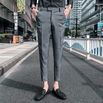 Straight nine points suit pants men's slim fIt summer youth Korean stylish business casual pants trousers