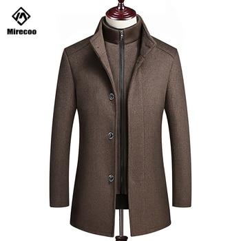 Mirecoo Winter Coat Men Thick Jaket Men Solid Wool Coat High Quality Adjustable Vest Single Breasted Casual Overcoat Winter 2019
