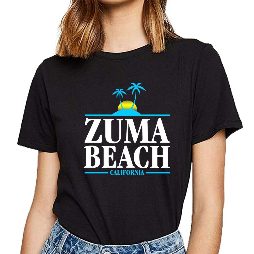 Tops T Shirt Women Zuma Beach California Funny White Custom Female Tshirt