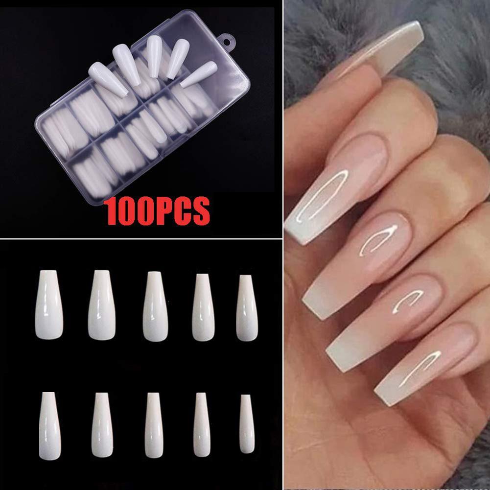 100Pcs Nail Tips Long Fake Nail Tip Ballerina False Fingernail Full Cover Manicure Decor DIY Manicure Tool