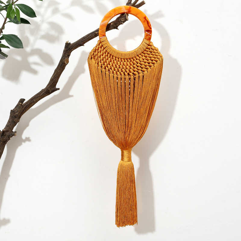 Acrílico de luxo Anel de Lidar Com As Mulheres Borla Bolsas Corpo Mulheres Handmade Woven Handle Tote Sacos de Sacos de Designer de Verão vestido de Praia Boêmio