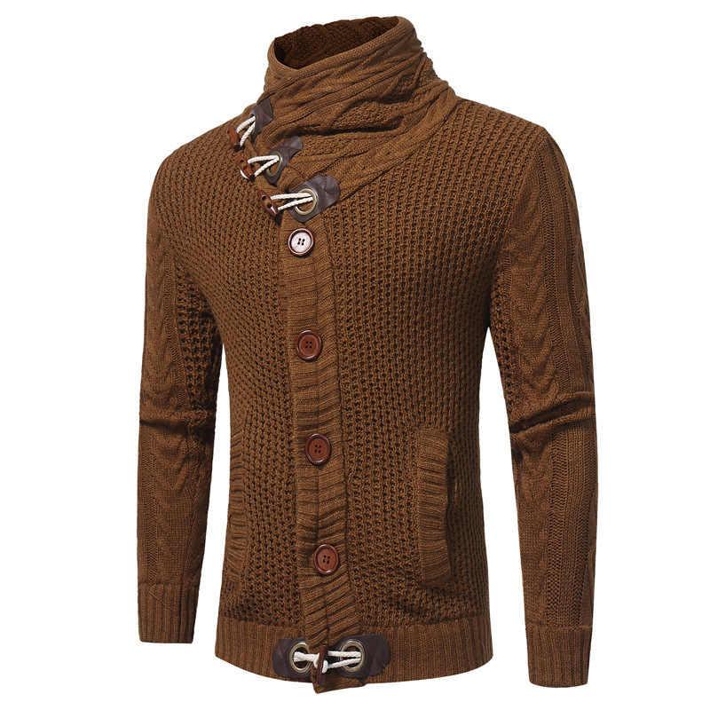 Winter Männer Wolle Jacken Dicke Strickjacke Plus Samt Mäntel Herren Marke Kleidung Frühling Mit Kapuze Strick Taste Mantel 2020 Neue Männliche top
