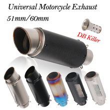 Universal Motorcycle Exhaust Pipe Carbon Fiber Escape With Removable DB killer 60MM 51MM Muffler For Z700 Z800 Z900 ER6N CBR500