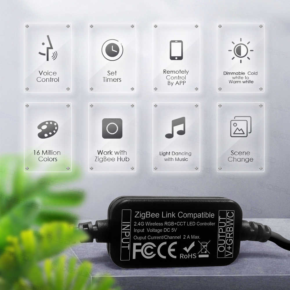 TRUYỀN HÌNH dải ĐÈN LED ánh sáng ZigBee Bộ điều khiển mini thông minh điều Bộ 5V USB RGB + CCT máy tính dây ĐÈN LED ánh sáng làm việc với ZigBee Hub Echo