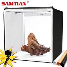 SAMTIAN boîte à lumière 40 cm Photo boîte pliante softbox avec photos 3 couleurs fond pour photographie studio tente boîte à intensité variable