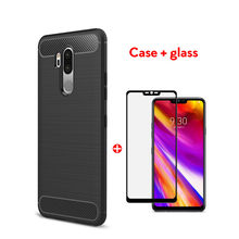 2 In 1 Tempered Glass+Case For LG G7 Case Silicon Soft Anti-knock Case For LG G6 G7 ThinQ G8 ThinQ V50 ThinQ K40 K50 Back Cover(China)