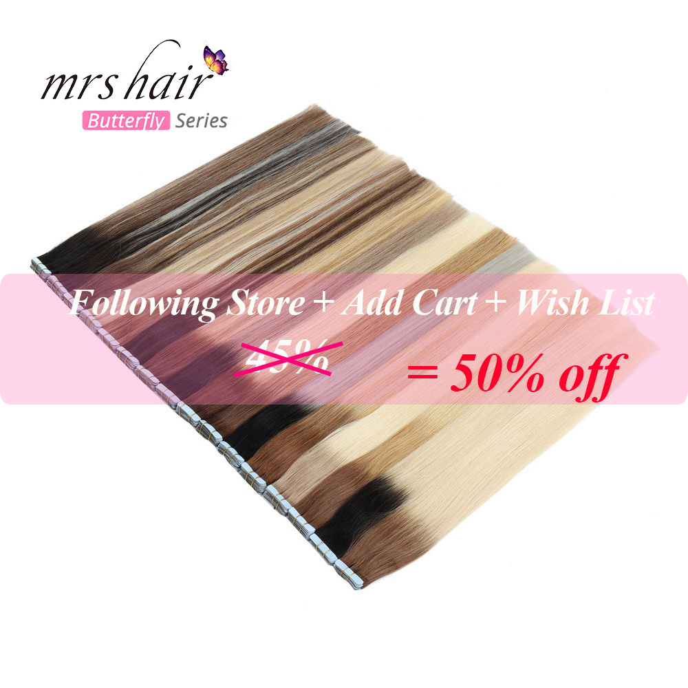 MRSHAIR Balayage Tape In Hair Extensions Skin Weft Pu Hair Machine Remy Ombre Tape Hair Straight Tone Hair 14