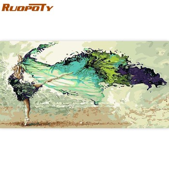 RUOPOTY 60x120cm Frame DIY Painting By Numbers Dancer Modern Home Wall Art Canvas Painting Large Size For Living Room Home Decor