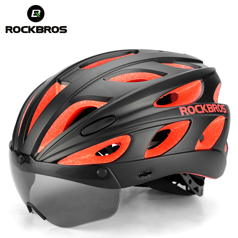 ROCKBROS Goggles Bicycle Helmets Integrally molded Ultralight Magnetic MTB Mountain Road Cycling Bike Helmets With Sunglasses