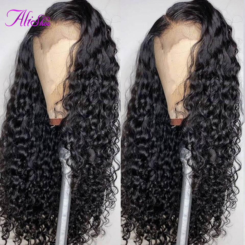 Alishes 4x4 Lace Closure Water Wave Wig Human Hair For Black Women Brazilian Hair 150% Density Lace Wigs Pre Plucked 10-26 Remy