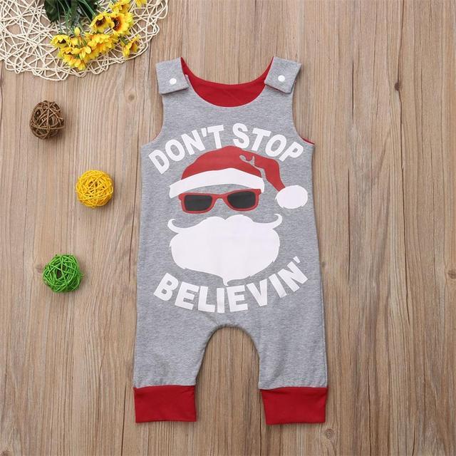 Crianças bebê menino sem mangas macacão tops calças elementos de natal papai noel prin toutfits roupas
