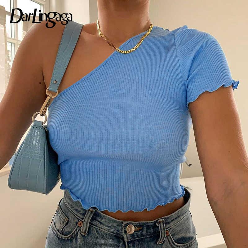 Darlingaga bir omuz nervürlü Slim T shirt kadın katı moda kısa kollu mahsul en eğik yaka giysileri yaz tişört Tees