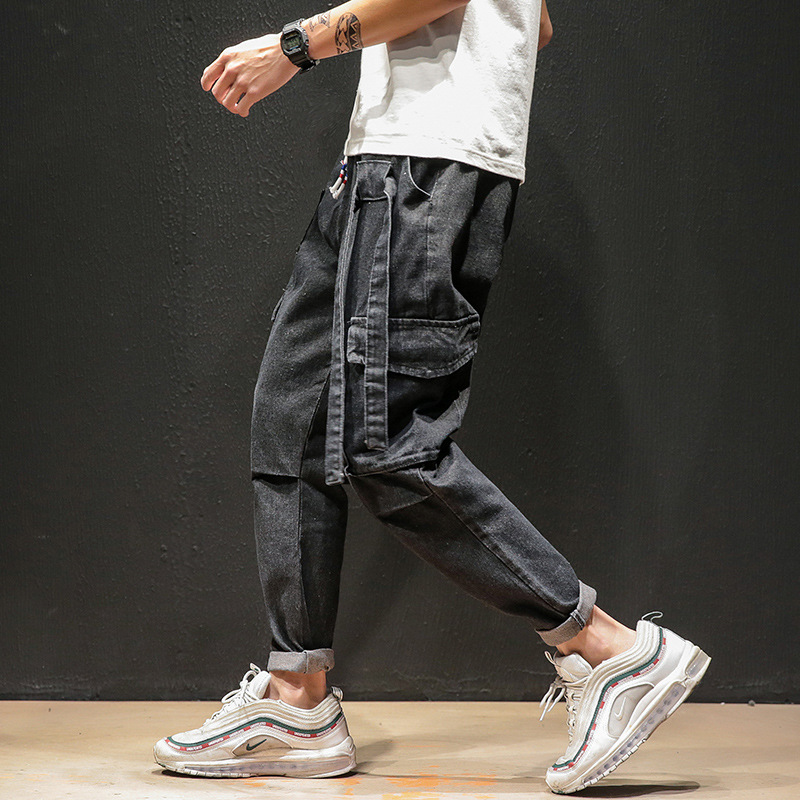 The new spring and autumn season men's slacks men's pants multi-pocket overalls casual retro wear overalls jeans,final clear out