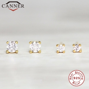 Mini 1 pair 2mm/3mm Zircon Gold Silver Color 925 Sterling Stud Earrings for Women Round Crystal Studs Fashion Jewelry