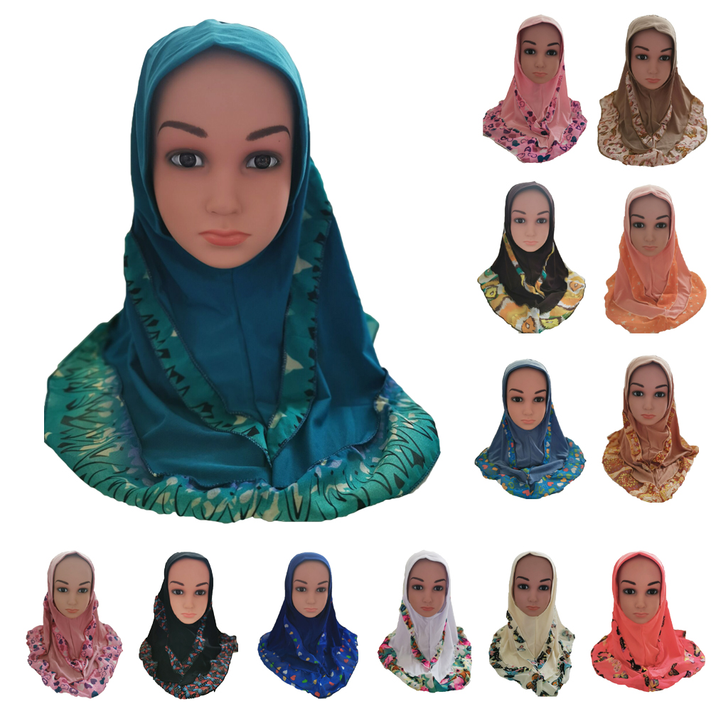 12 pièces filles enfants musulman Bonnet islamique arabe écharpe châles imprimer pour 1 à 5 ans filles doux Stretch bonnets couleur aléatoire nouveau