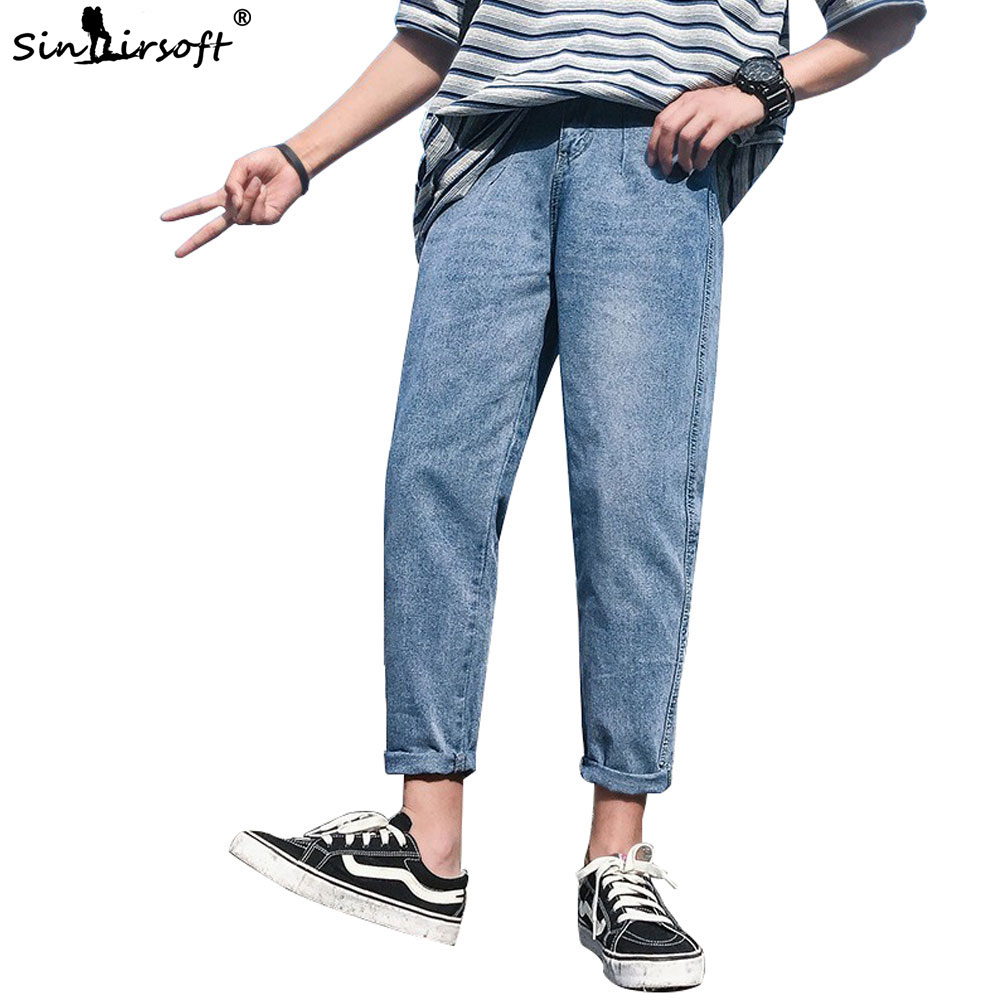 Denim Pure Blue Casual Pencil Pants Men Skinny Button Waist Jeans Ankle-Length Pants Male Slim Streetwear Summer Trousers Hot