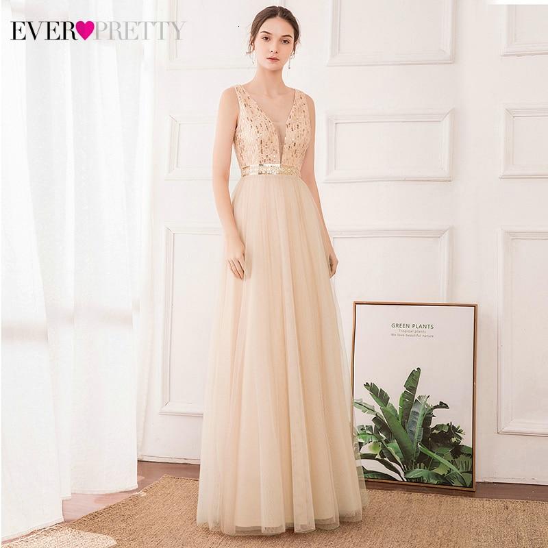 Elegant Rose Gold Evening Dresses Ever Pretty EP00715RG Sequined A-Line Deep V-Neck Tulle Sparkle Party Gowns Lange Jurken 2019