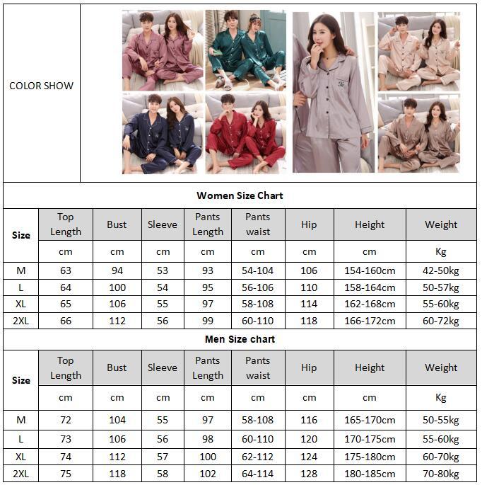 2020 Luxury Pajama suit Satin Silk Pajamas Sets Couple Sleepwear Family Pijama Lover Night Suit Men & Women Casual Home Clothing 5