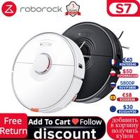 Aspiradora robótica de Roborock-S7, aspiradora con navegación láser, para el hogar, barredora de alfombras, Upg de S5 Max, barrido en húmedo, blanco y negro