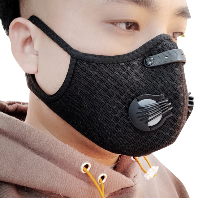 Anrancee Face Mask With Filter Breathing Valve Activated Carbon PM 2.5 Anti Pollution Bicycle Cycling Protection Bike Dust Mask 3