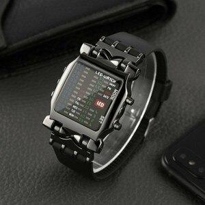 Luxury Stainless Steel Men Digital Watch Square Style Cool Colorful LED Digital Watch Waterproof Binary Sport Wrist Watch NEW