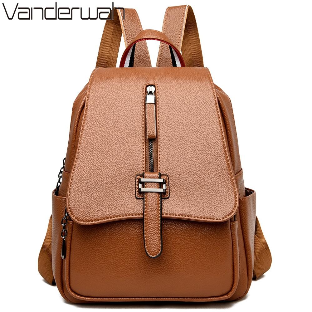 New Women Leather Backpack Female Shoulder Bag Sac A Dos Ladies Bagpack Vintage School Bags For Teenage Girls Travel Back Pack