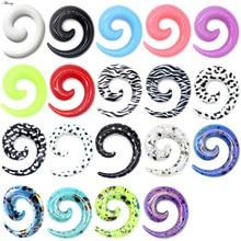 Alisouy 2 pces 1.2-20mm acrílico espiral orelha calibres fake tampões de orelha alongamento plugues túnel expansores earlobe corpo piercing jóias