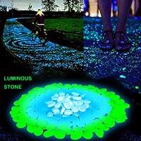 80/90/100 pçs brilho de pedra luminosa no jardim escuro seixos pedras brilho jardim pátio decoração luz pedras