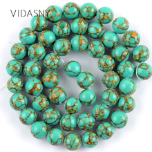 цены Green Gold Line Turquoises Natural Gem Round Stone Beads For Jewelry Making 4 6 8 10mm Spacer Beads Diy Bracelet Necklace 15''