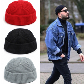 Knitted Hats for Women Skullcap Men Beanie Hat Winter Retro Brimless Baggy Melon Cap Cuff Docker Fisherman Beanies Hats for Men image