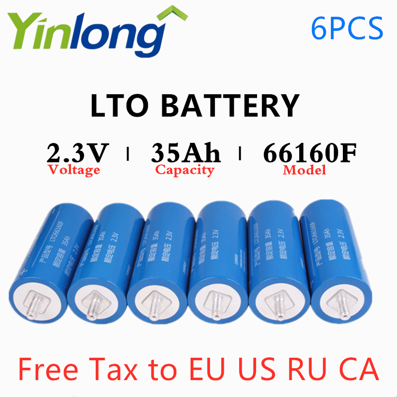 6PCS Original Yinlong 2.3V 35AH LTO Lithium Titanium Oxide LTO66160F Battery Cylindrical Rechargeable <font><b>66160</b></font> 10C Battery image