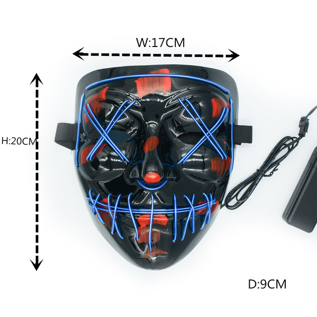 Halloween Mask LED Maske Light Up Party Masks Neon Maska Cosplay Mascara Horror Mascarillas Glow In Dark Masque V for Vendetta 3