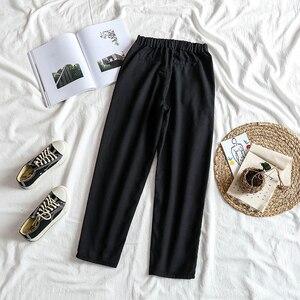 Image 2 - ג ינס נשים גבוהה אלסטי מותניים שחור רופף ישר נשים מכנסיים יוניסקס כל התאמה מקרית Harajuku נשים שיק יומי BF ג ינס