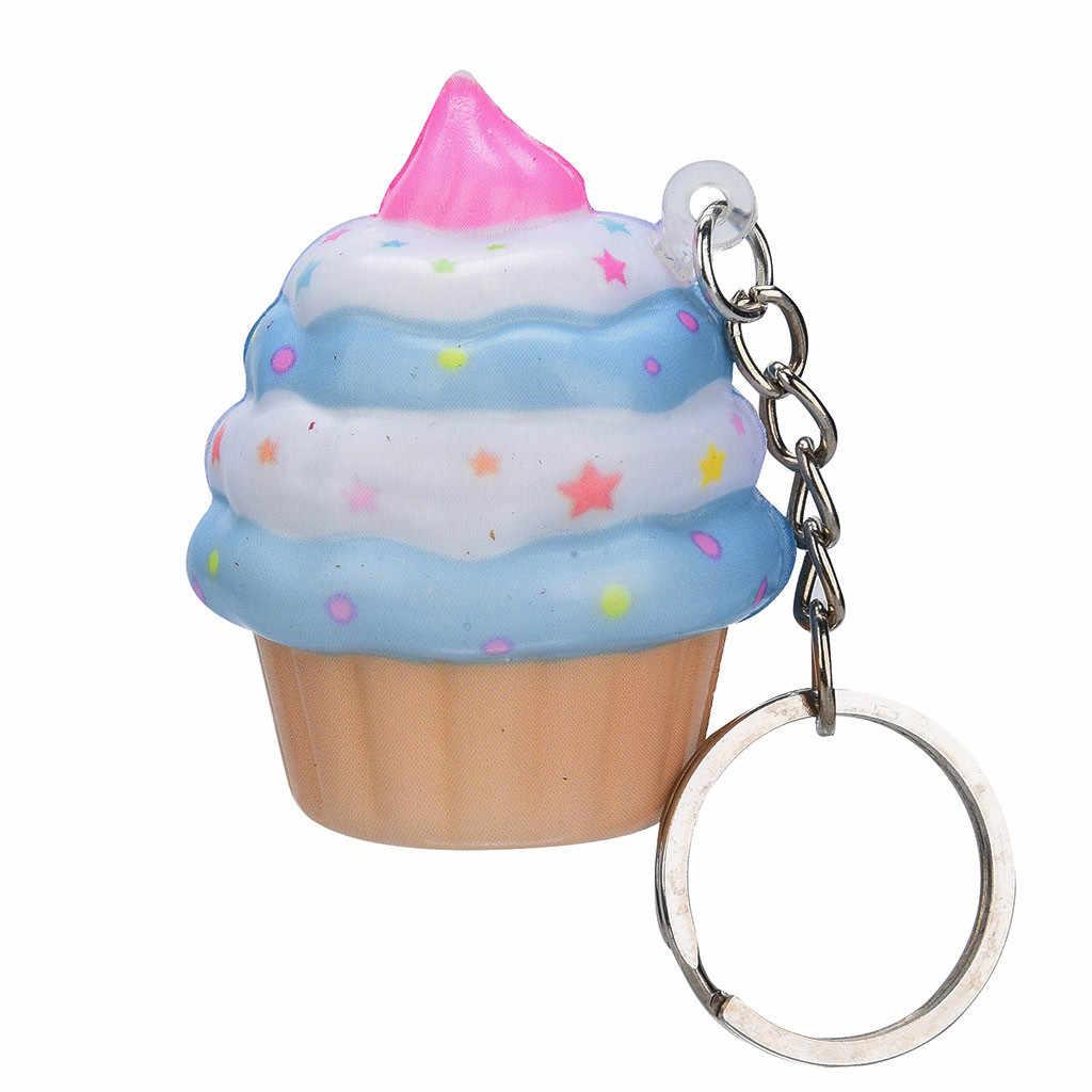 Kawaii Cute Kawaii Soft Squishy Adorable pastel de helado perfumado crema llavero lento antiestrés juguete compresa alivio de estrés