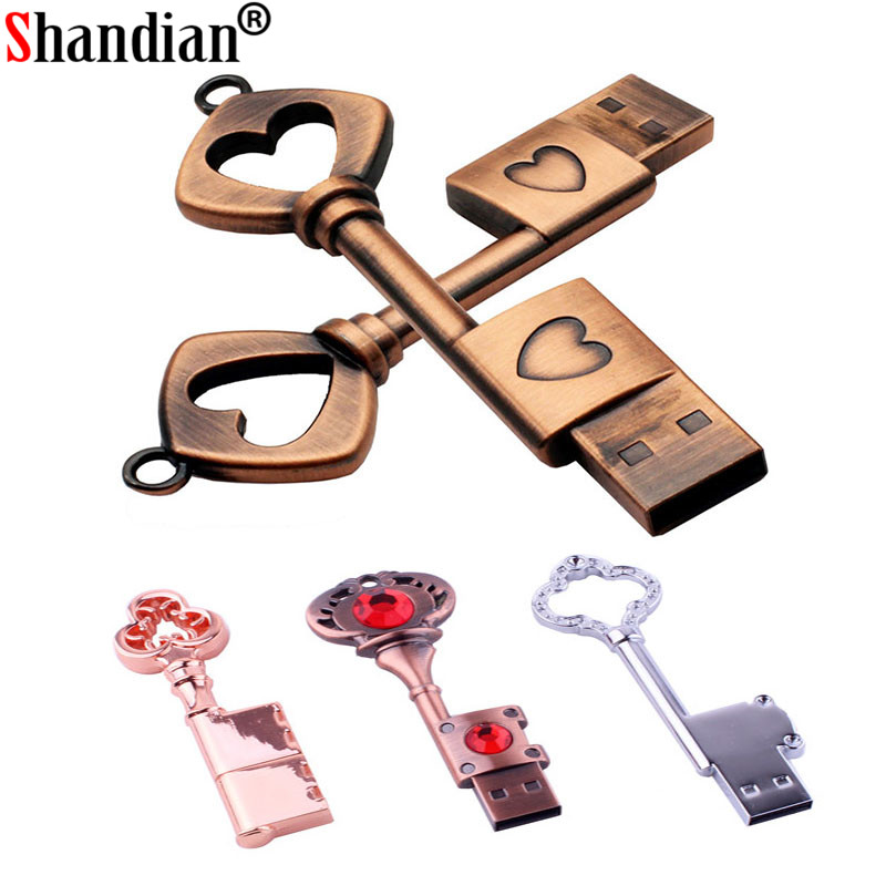 SHANDIAN Love Matal Heart Key Usb Flash Drive Copper Love Pendrive 4gb 16gb 32gb 64GB Pen Drive Memory Stick U Disk Fashion Gift
