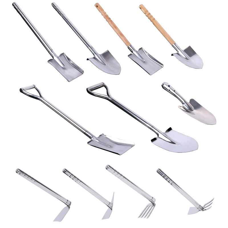 Stainless Steel Square Point Shovel Garden Tools Shovel Agricultural Shovel Rake Pickaxe Spatula