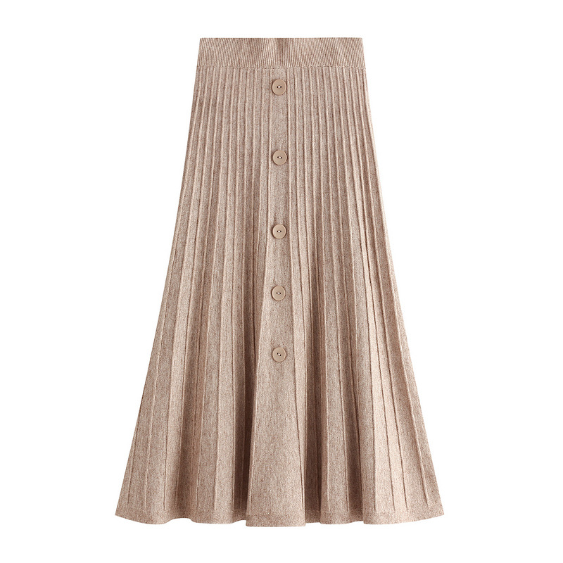Autumn Korean Single-breasted Buttons Cotton Blend A-line Long Knitted Skirts Elastic Waist Rib Knit Pleated Maxi Long Skirts