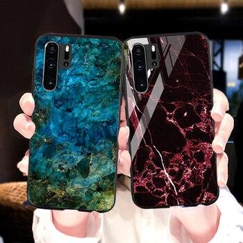 Перейти на Алиэкспресс и купить Мрамор закаленное стекло чехол для Huawei Y9 Y5 Y6 Y7 Prime 2018 2019 Case Huawei P20 P40 P30 Lite Pro Nova 7i 5T 3i 3 6 Se 5G Обложка