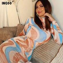 Ingoo 2020 Весна принт облегающее Для женщин платье средней