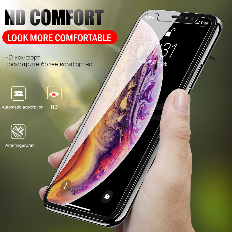 Screenprotector Tempered Glass For IPhone X XR XS Max 8 7 6 6S Plus 5 5S SE Screen Protector Film Phone Verre Tremp Coque